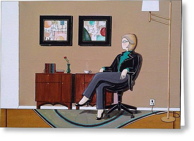 Businesswoman Sitting In Chair Greeting Card by John Lyes