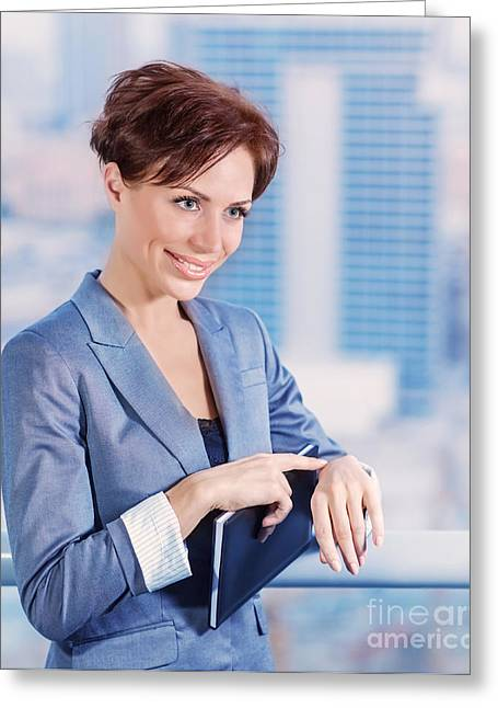 Businesspeople Greeting Cards - Businesswoman waiting for someone Greeting Card by Anna Omelchenko