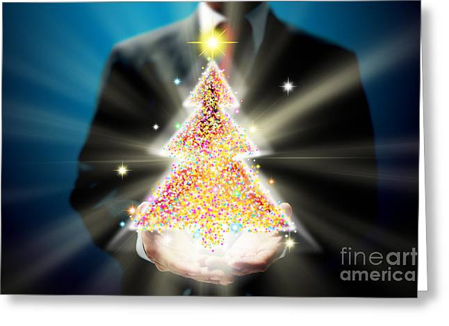 Innovative Greeting Cards - Bussinessman With Christmas Greeting Card by Atiketta Sangasaeng