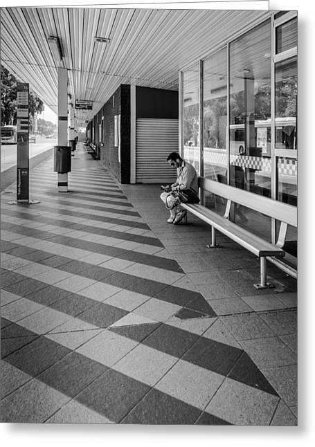 Busstop Greeting Cards - Busstop Waiting Man Greeting Card by Paul Donohoe