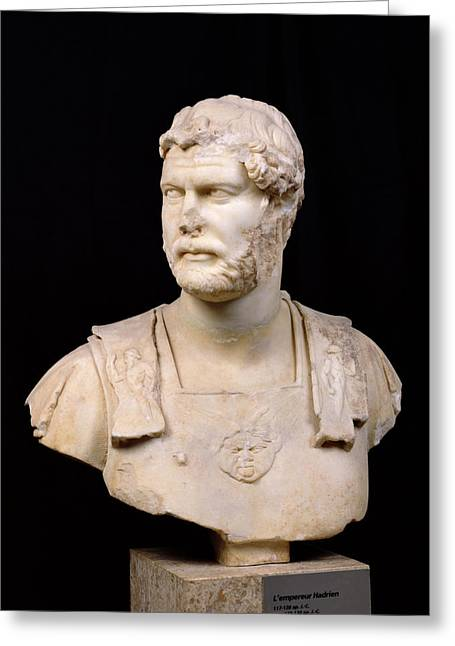 Sculptures Sculptures Greeting Cards - Bust of Emperor Hadrian Greeting Card by Anonymous