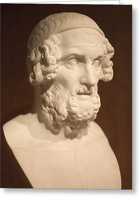 Greek Art Greeting Cards - Bust of Homer Greeting Card by Mark Greenberg
