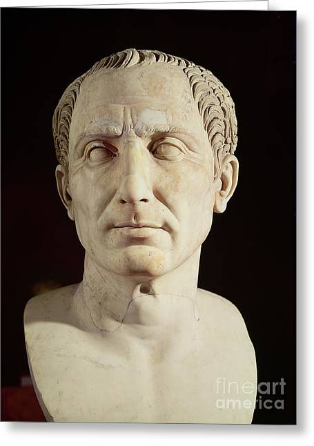 Marble Stone Greeting Cards - Bust of Julius Caesar Greeting Card by Anonymous