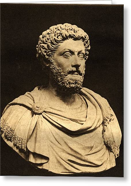 Roman Statue Greeting Cards - Bust Of Marcus Aurelius 121-80 Ad Marble Greeting Card by English Photographer