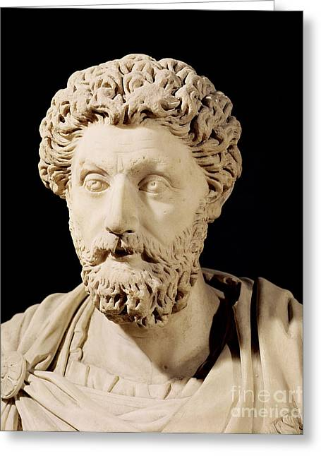 Marble Sculptures Greeting Cards - Bust of Marcus Aurelius Greeting Card by Anonymous