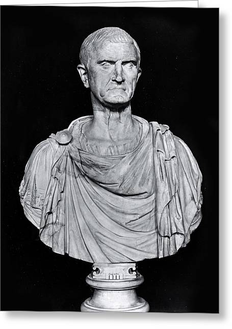 Statue Portrait Greeting Cards - Bust Of Marcus Licinius Crassus C.115-53 Bc Stone Bw Photo Greeting Card by Roman