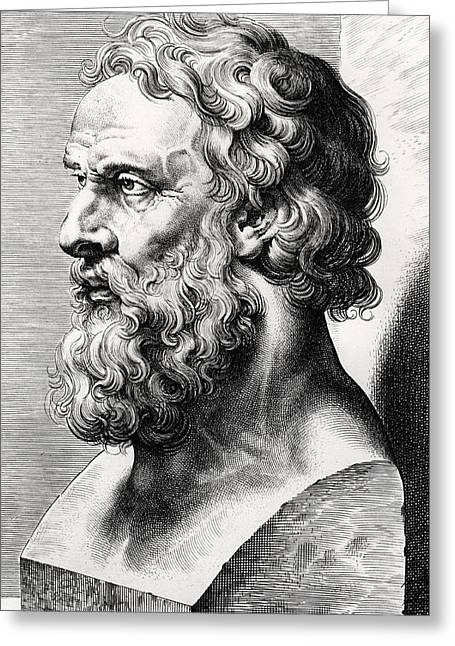 Greek Sculpture Greeting Cards - Bust of Plato  Greeting Card by Lucas Emil Vorsterman