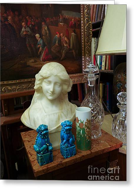 Bust Painting Knick Knacks In Antique Shop Greeting Card by Amy Cicconi