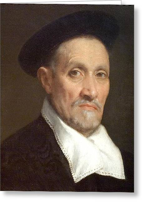 Magistrates Greeting Cards - Bust Portrait of a Magistrate Greeting Card by Giovanni Battista Moroni