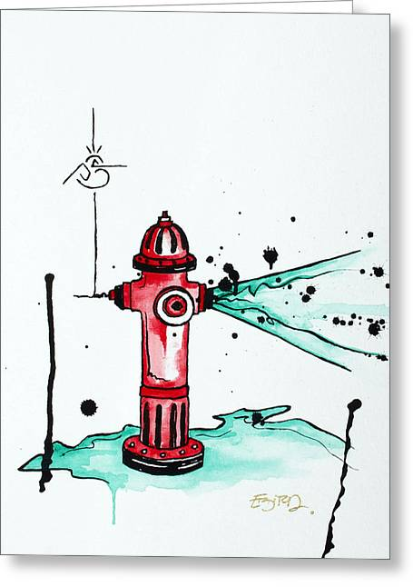 Morphed Mixed Media Greeting Cards - Busted Hydrant Greeting Card by Emily Pinnell
