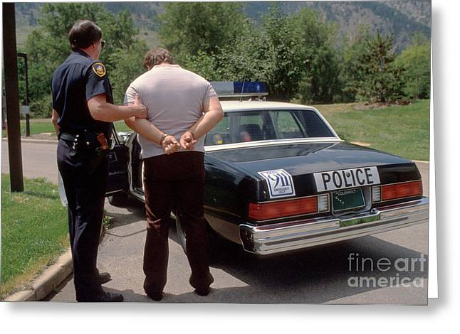 Police Car Greeting Cards - Busted Greeting Card by Jerry McElroy