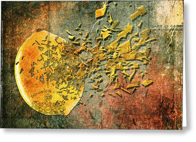 Lemon Art Digital Art Greeting Cards - Busted Lemon Greeting Card by Al  Mueller