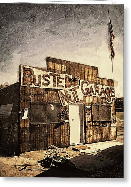 Middle Of Nowhere Greeting Cards - Busted Nut Garage Greeting Card by Ron Regalado