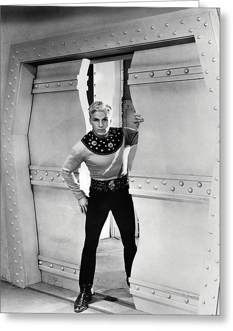 Flash Greeting Cards - Buster Crabbe in Flash Gordon  Greeting Card by Silver Screen