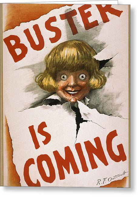 Flyer Greeting Cards - Buster is coming Greeting Card by Aged Pixel