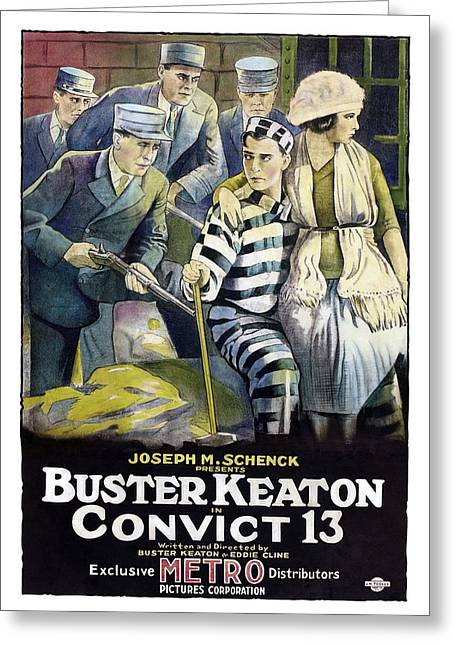 Keaton Greeting Cards - Buster Keaton in Convict 13  Greeting Card by Silver Screen