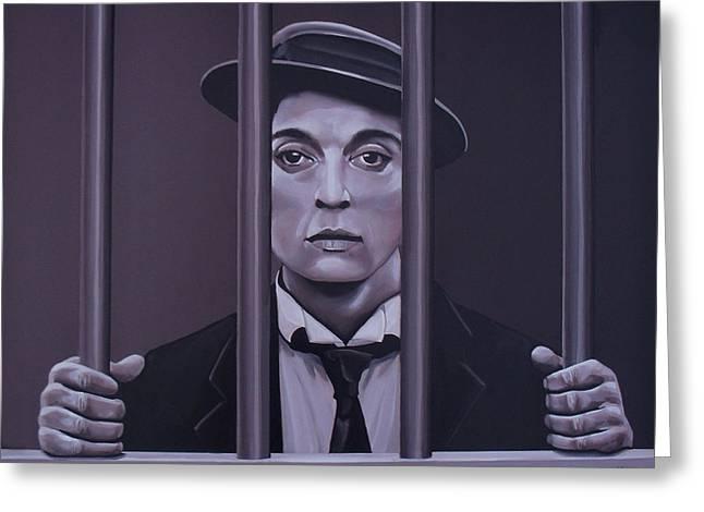 Jail Paintings Greeting Cards - Buster Keaton Greeting Card by Paul Meijering