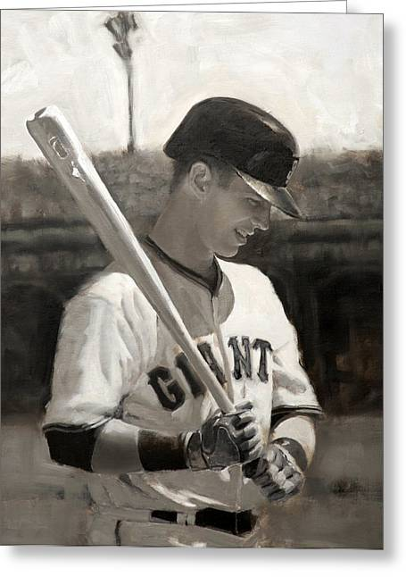 Baseball Paintings Greeting Cards - Buster Posey - Quiet Leader Greeting Card by Darren Kerr
