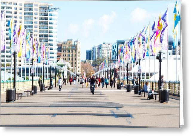 July Greeting Cards - Bustle hustle and colourful flags Greeting Card by Constance Fein Harding