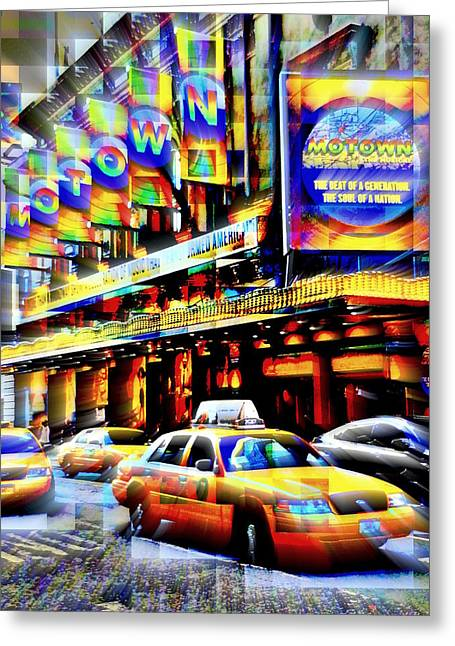 Broadway St Greeting Cards - Bustling Broadway Greeting Card by Garrett Nyland