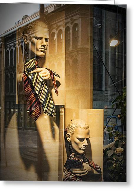 Apparel Greeting Cards - Busts with Neckties in Shop Display Window Greeting Card by Randall Nyhof