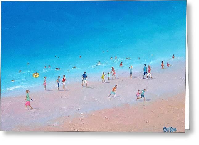 Beach Art Greeting Cards - Busy Beach Day Greeting Card by Jan Matson
