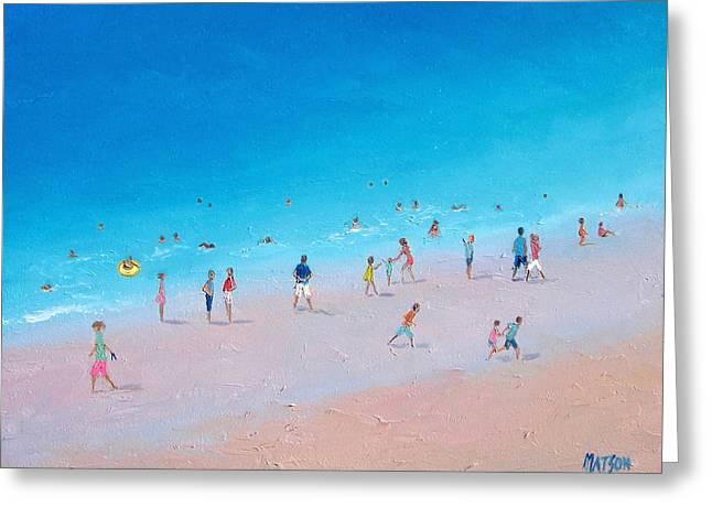 Beach Cottage Style Greeting Cards - Busy Beach Day Greeting Card by Jan Matson