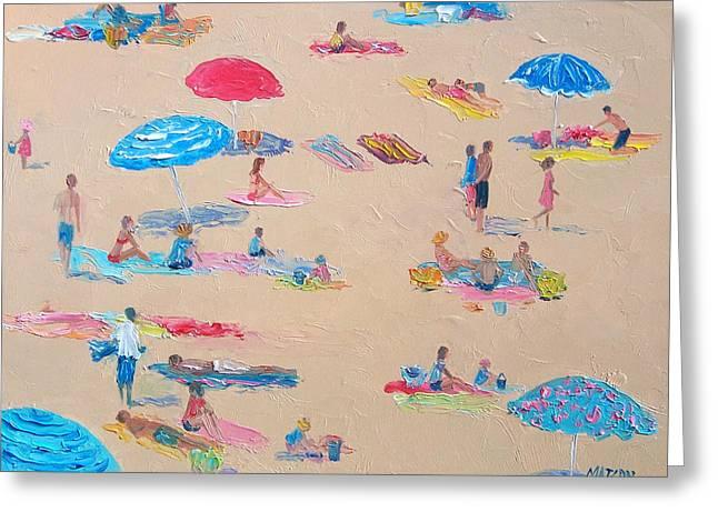 Sun Baking Greeting Cards - Busy Beach Greeting Card by Jan Matson