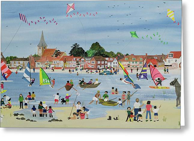 Kite Greeting Cards - Busy Beach Greeting Card by Judy Joel
