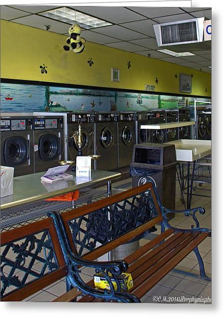 Laundry Mat Greeting Cards - Busy Bee laundry Greeting Card by Catherine Melvin