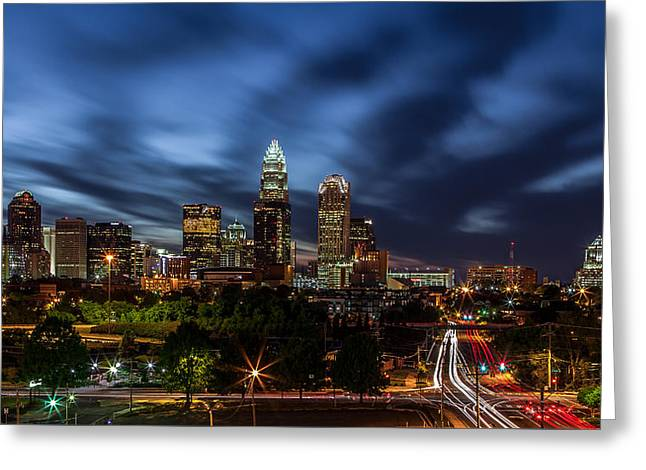 12 Greeting Cards - Busy Charlotte Night Greeting Card by Chris Austin