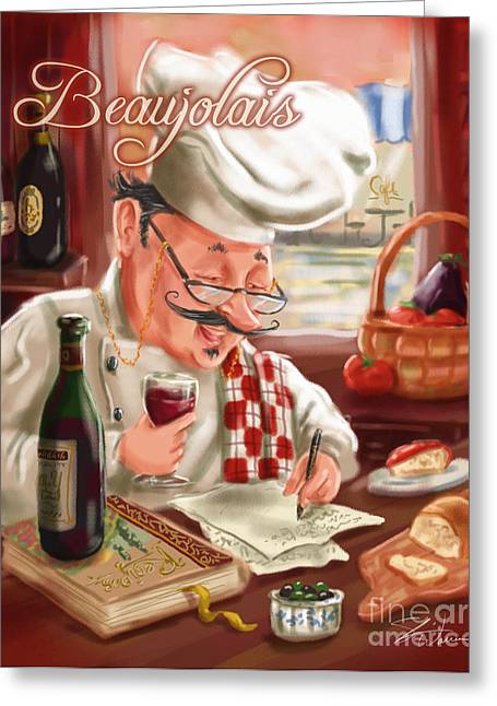 Dine Mixed Media Greeting Cards - Busy Chef with Beaujolais Greeting Card by Shari Warren