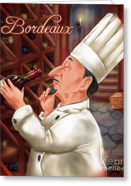 Waiter Greeting Cards - Busy Chef with Bordeaux Greeting Card by Shari Warren