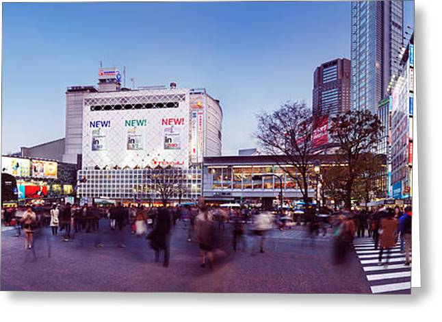 Shibuya Greeting Cards - Busy crowded intersection in Shibuya Tokyo Greeting Card by Oleksiy Maksymenko