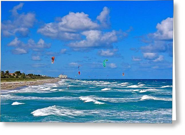Kiteboarding Greeting Cards - Busy Day At The Beach and Ocean 2 Greeting Card by Joe Wyman