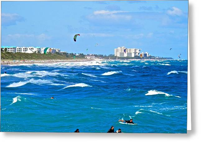 Kiteboarding Greeting Cards - Busy Day At The Beach and Ocean Greeting Card by Joe Wyman