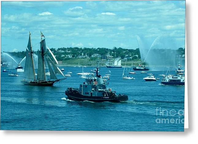 Fireboat Photographs Greeting Cards - Busy Halifax Harbor During the Parade of Sails Greeting Card by John Malone