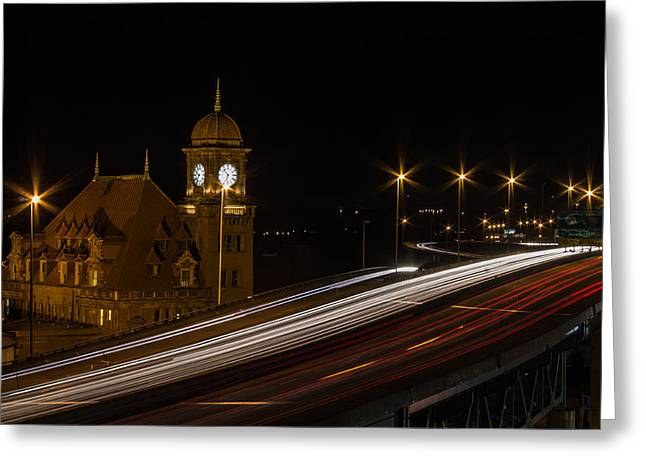 Long Street Greeting Cards - Busy Highway at Night Greeting Card by James Drake