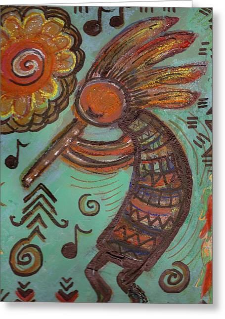 Busy Kokopelli  Greeting Card by Anne-Elizabeth Whiteway