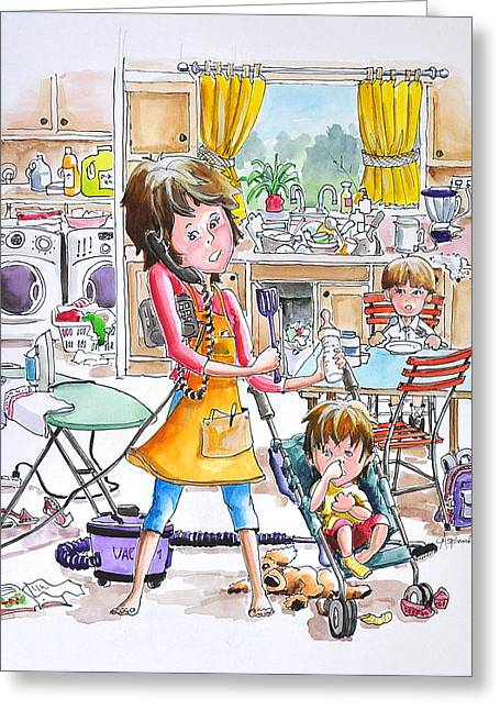 Ironing Board Greeting Cards - Busy mom Greeting Card by Gertrudes  Asplund