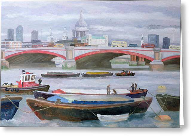 River Paintings Greeting Cards - Busy Scene at Blackfriars Greeting Card by Terry Scales