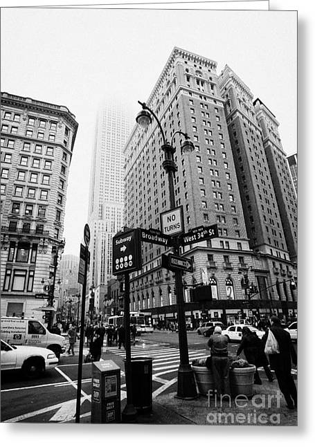 Manhaten Greeting Cards - Busy Traffic Junction Of West 34th Street St And Broadway With Empire State Building Shrouded Mist Greeting Card by Joe Fox
