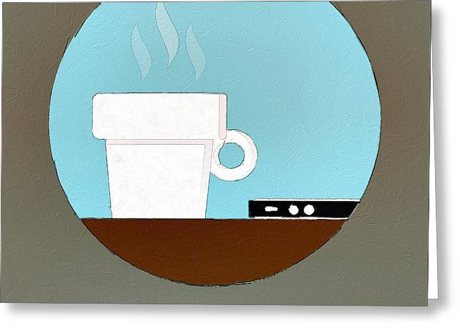 Coffee Drinking Digital Art Greeting Cards - But First Coffee Greeting Card by Florian Rodarte