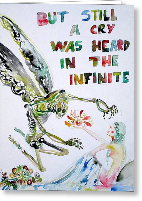 Cushion Paintings Greeting Cards - But Still A Cry Was Heard In The Infinite Greeting Card by Fabrizio Cassetta