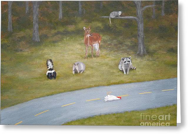 Clever Paintings Greeting Cards - But Why? Greeting Card by Phyllis Andrews