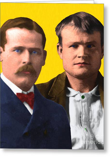 Butch Cassidy Greeting Cards - Butch Cassidy and The Sundance Kid 20130512 v2 vertical Greeting Card by Wingsdomain Art and Photography