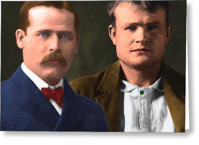 Butch Cassidy Greeting Cards - Butch Cassidy and The Sundance Kid 20130512 v3 square Greeting Card by Wingsdomain Art and Photography