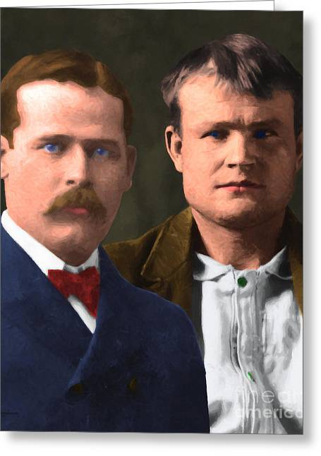 Butch Cassidy Greeting Cards - Butch Cassidy and The Sundance Kid 20130512 v3 vertical Greeting Card by Wingsdomain Art and Photography
