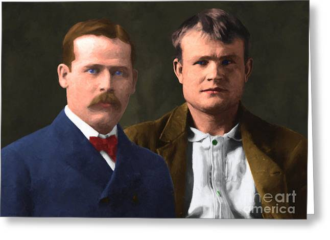 Butch Cassidy Greeting Cards - Butch Cassidy and The Sundance Kid 20130512 v3 Greeting Card by Wingsdomain Art and Photography