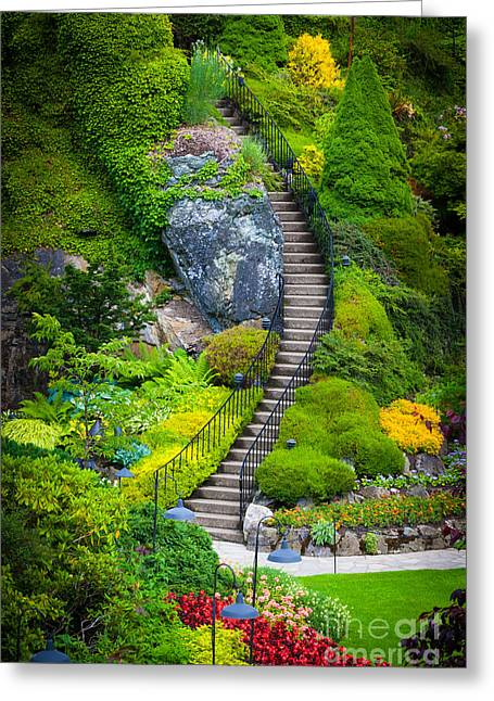 British Columbia Greeting Cards - Butchart Gardens Stairs Greeting Card by Inge Johnsson